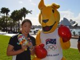 Swimmer Ami Matsuo and the Boxing Kangaroo Mascot at Sydney Harbour Foreshore celebrating 100 days until the Youth Olympic Games in Nanjing on 8 May 2014. Matsuo will represent Australia at Nanjing 2014.