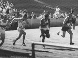 Los Angeles 1932:  (from left to right)  Eddie Tolan (USA), Arthur Jonath (GER), George Simpson (USA), Ralph Metcalfe (USA), Daniel J Joubert (RSA) and Takayosh Yoshioka (JPN) in action during the 100m final. Tolan won the gold medal, Metcalfe the silver and Jonath the bronze.