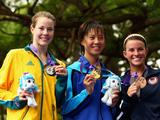 Silver medallist Ellie Salthouse of Australia, gold medallist Yuka Sato of Japan and bronze medallist Kelly Whitley of the USA celebrate with their medals afteg the Women's Triathlon on day one of the Youth Olympics at East Coast Park on August 15, 2010 in Singapore.