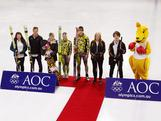 The first athletes selected to the 2012 Australian Winter Youth Olympic Team gather on the ice at the Canterbury Ice Rink in Sydney, 17 October 2011.