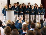 The Australian Winter Youth Olympic Team are revealed at the Offentliches Gymnasium der Franziskaner secondary school during previews to the Winter Youth Olympic Games on January 10, 2012 in Innsbruck, Austria.