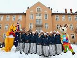 The Australian Winter Youth Olympic Team pose for a photo outside the Offentliches Gymnasium der Franziskaner secondary school during previews to the Winter Youth Olympic Games on January 10, 2012 in Innsbruck, Austria.