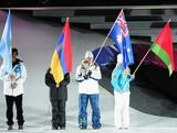 Greta Small carries the flag for Australia at the Opening Ceremony of the Innsbruck 2012 Winter Youth Olympics.