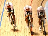 Team Australia compete in the Men's Team pursuit final during Day 1 of the 2012 UCI Track Cycling World Championships at Hisense Arena on April 4, 2012 in Melbourne, Australia.