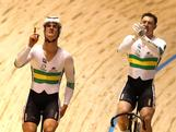 Matthew Glaetzer and Shane Perkins of Australia celebrate after winning the Men's Team Sprint Final with teammate Scott Sunderland during Day 1 of the 2012 UCI Track Cycling World Championships at Hisense Arena on April 4, 2012 in Melbourne, Australia.