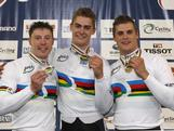 Shane Perkins, Matthew Glaetzer and Scott Sunderland of Australia pose with their medals after winning the Men's Team Sprint during day one of the 2012 UCI Track Cycling World Championships at Hisense Arena on April 4, 2012 in Melbourne, Australia.