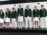 Libby Trickett, Naomi Flood, Kynan Mayley, Lauren Jackson, Adam Gibson, Sarah Tait and Murray Stewart model the Opening Ceremony uniform on 3 May 2012 in Sydney.