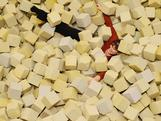 Minister for Sport Kate Lundy in the foam pit during an Australian Olympic Gymnastics Team Announcement at AIS on June 21, 2012 in Canberra, Australia.