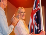 Basketballer Lauren Jackson looks on after being announced as the Australian flag bearer at the Australian 2012 Olympic Games team flag bearer announcement at the Stratford Westfield Southern Lounge on July 26, 2012 in London, England.