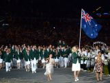 Basketball player Lauren Jackson of Australia carries her national flag into the stadium during the Opening Ceremony of the London 2012 Olympic Games.