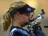 LONDON, ENGLAND - JULY 28:  Robyn Van Nus of Australia competes in the Women's 10m Air Rifle Shooting qualification on Day 1 of the London 2012 Olympic Games at The Royal Artillery Barracks on July 28, 2012 in London, England.