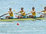 WINDSOR, ENGLAND - JULY 28:  Australia competes in the Men's Lightweight Four Heats on Day 1 of the London 2012 Olympic Games at Eton Dorney on July 28, 2012 in Windsor, England.
