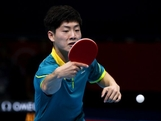 Justin Han plays a backhand against Mawussi Agbetoglo of Togo during their Men's Singles Table Tennis match on day one of the London 2012 Olympic Games at ExCeL on July 28, 2012 in London, England.