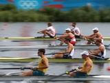 WINDSOR, ENGLAND - JULY 28:  The Netherlands, United States, Australia and Canada compete in the Men's Pair Heat 2 on Day 1 of the London 2012 Olympic Games at Eton Dorney on July 28, 2012 in Windsor, England.