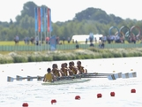 WINDSOR, ENGLAND - JULY 28:  Australia  compete in the Men's Eight Heats on Day 1 of the London 2012 Olympic Games at Eton Dorney on July 28, 2012 in Windsor, England.