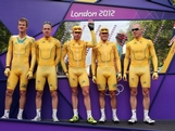 (L-R) Michael Rogers, Matthew Harley Goss, Cadel Evans, Simon Gerrans and Stuart O'Grady pose for photographs ahead of the Men's Road Race Road Cycling on day 1 of the London 2012 Olympic Games on July 28, 2012 in London, England.