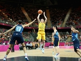 Kristi Harrower #10 of Australia shoots against Azania Stewart #14 of Great Britain in the first half during Women's Basketball on Day 1 of the London 2012 Olympic Games at the Basketball Arena on July 28, 2012 in London, England.