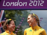 (L-R) Chloe Hosking, Shara Gillow and Amanda Spratt pose ahead of the Women's Road Race Road Cycling on day two of the London 2012 Olympic Games on July 29, 2012 in London, England