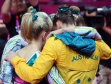 LONDON, ENGLAND - JULY 29:  Team Australia huddles after competing in the Artistic Gymnastics Women's Team qualification on Day 2 of the London 2012 Olympic Games at North Greenwich Arena on July 29, 2012 in London, England.
