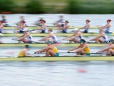 WINDSOR, ENGLAND - JULY 29:  Hannah Vermeersch, Renee Chatterton, Robyn Selby Smith, Sarah Cook, Tess Gerrand, Alexandra Hagan, Sally Kehoe, Phoebe Stanley, and Elizabeth Patrick of Australia compete in Heat 1 of the Women's Eight on Day 2 of the London 2012 Olympic Games at Eton Dorney on July 29, 2012 in Windsor, England.