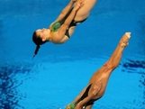Sharleen Stratton (Bottom) and Anabelle Smith of Australia compete in the Women's Synchronised 3m Springboard final on Day 2 of the London 2012 Olympic Games at the Aquatics Centre at Aquatics Centre on July 29, 2012 in London, England.