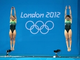 Sharleen Stratton (L) and Anabelle Smith of Australia compete in the Women's Synchronised 3m Springboard final on Day 2 of the London 2012 Olympic Games at the Aquatics Centre at Aquatics Centre on July 29, 2012 in London, England.