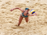 Louise Bawden of Australia dives for the ball during Women's Beach Volleyball Preliminary match between Germany and Australia on Day 2 of the London 2012 Olympic Games at Horse Guards Parade on July 29, 2012 in London, England.