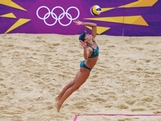 LONDON, ENGLAND - JULY 29:  Becchara Palmer of Australia serves during Women's Beach Volleyball Preliminary match between Germany and Australia on Day 2 of the London 2012 Olympic Games at Horse Guards Parade on July 29, 2012 in London, England.