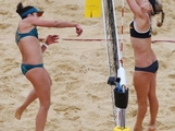 Becchara Palmer is blocked by Sara Goller of Germany during the Women's Beach Volleyball Preliminary match between Germany and Australia on Day 2 of the London 2012 Olympic Games at Horse Guards Parade on July 29, 2012 in London, England.