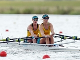 (L-R) Kim Crow and Brooke Pratley of Australia compete Women's Double Sculls heats on Day 3 of the London 2012 Olympic Games at Eton Dorney on July 30, 2012 in Windsor, England.