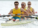 WINDSOR, ENGLAND - JULY 30:  Joshua Dunkley-Smith, Drew Ginn, James Chapman and William Lockwood of Australia compete in the Men's Four heats on Day 3 of the London 2012 Olympic Games at Eton Dorney on July 30, 2012 in Windsor, England.