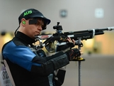 LONDON, ENGLAND - JULY 30:  William Godward of Australia competes in the Men's 10m Air Rifle qualification on Day 3 of the London 2012 Olympic Games at The Royal Artillery Barracks on July 30, 2012 in London, England.