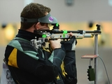 LONDON, ENGLAND - JULY 30:  Dane Kevin Sampson of Australia competes in the Men's 10m Air Rifle qualification on Day 3 of the London 2012 Olympic Games at The Royal Artillery Barracks on July 30, 2012 in London, England.