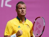 Lleyton Hewitt of Australia celebrates a point during the Men's Singles Tennis match against Sergiy Stakhovsky of Ukraine on Day 3 of the London 2012 Olympic Games at the All England Lawn Tennis and Croquet Club in Wimbledon on July 30, 2012 in London, England.