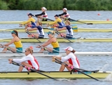 Kim Crow and Brooke Pratley of Australia compete against pairs from Germany, Ukraine, United States of America, and Poland in the Women's Double Sculls heats on Day 3 of the London 2012 Olympic Games at Eton Dorney on July 30, 2012 in Windsor, England.