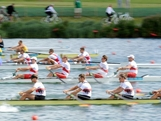 New Zealand, Australia, Serbia, Canada and Germany compete in a heat of the Men's Four rowing on Day 3 of the London 2012 Olympic Games at Eton Dorney on July 30, 2012 in Windsor, England.