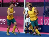 Jamie Dwyer of Australia reacts after a goal against South Africa during their Men's Hockey match on Day 3 at the Riverbank Arena on July 30, 2012 in London, England.