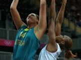 LONDON, ENGLAND - JULY 30:  Elizabeth Cambage of Australia lays the ball up during the Women's Preliminary Round match between Australia and France on day 3 of the London 2012 Olympic Games at Basketball Arena on July 30, 2012 in London, England.