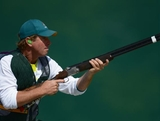 Clive Barton of Australia competes in the Men's Skeet Shooting qualification on Day 3 of the London 2012 Olympic Games at The Royal Artillery Barracks on July 30, 2012 in London, England.
