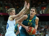 Belinda Snell of Australia drives the ball during the Women's Preliminary Round match between Australia and France on day 3 of the London 2012 Olympic Games at Basketball Arena on July 30, 2012 in London, England.