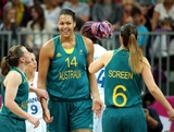 LONDON, ENGLAND - JULY 30:  Liz Cambage #14 (C) of Australia reacts with teammates after scoring against France during the Women's Basketball Preliminary Round match on Day 3 at Basketball Arena on July 30, 2012 in London, England.