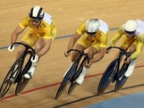 LONDON, ENGLAND - JULY 30: The Men's Team Sprint squad from Australia ride during a track cycling training session on day three of the London 2012 Olympic Games at the Velodrome in Olympic Park on July 30, 2012 in London, England.