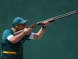 Keith Ferguson of Australia competes in the Men's Skeet Shooting qualification on Day 3 of the London 2012 Olympic Games at The Royal Artillery Barracks on July 30, 2012 in London, England.