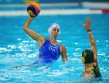 Giulia Rambaldi Guidasci of Italy is faced by Mel Rippon of Australia during the Women's Water Polo Preliminary match between Italy and Australia on Day 3 of the London 2012 Olympic Games  at Water Polo Arena on July 30, 2012 in London, England.