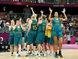 LONDON, ENGLAND - JULY 30:  Liz Cambage #14 (R) of Australia and teammates wave to the crowd following the Women's Basketball Preliminary Round match against France on Day 3 at Basketball Arena on July 30, 2012 in London, England.