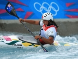 Jessica Fox of Australia competes during the Womens Kayak Single (K1) Slalom heats on Day 3 of the London 2012 Olympic Games at Lee Valley White Water Centre on July 30, 2012 in London, England.