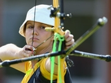 Elisa Barnard of Australia competes in her Women's Individual Archery Round of 64 match against Carina Christiansen of Denmark on Day 3 of the London 2012 Olympic Games at Lord's Cricket Ground on July 30, 2012 in London, England.