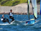 Nathan Outteridge (L) and Iain Jensen (R) compete in the Men's 49er Sailing on Day 3 of the London 2012 Olympic Games at Weymouth Harbour on July 30, 2012 in Weymouth, England.