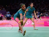 Leanne Choo (R) and Renuga Veeran (L) return a shot against Min Jung Kim and Jung Eun Ha of Korea during their Womens Doubles Badminton during Badminton match on Day 3 of the London 2012 Olympic Games at Wembley Arena on July 30, 2012 in London, England.