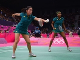 Leanne Choo (L) and Renuga Veeran (R) return a shot against Min Jung Kim and Jung Eun Ha of Korea during their Womens Doubles Badminton on Day 3 of the London 2012 Olympic Games at Wembley Arena on July 30, 2012 in London, England.